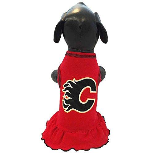 NHL Calgary Flames Dog Cheerleader Dress, Small, Red