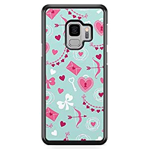 Samsung S9 Transparent Edge Case Valentines Love Ribbons Floral Cupcakes Heart Pattern Cute Design Low Profile Scratch Resistant Samsung S9 Transparent Edge Cover