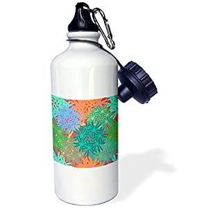 3dRose Florene - Abstract Floral - Image of Tropical Colorful Mix Abstract Floral - 21 oz Sports Water Bottle (wb_233700_1)