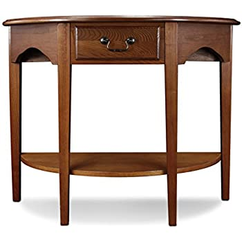 Leick Demilune Hall Console Table, Medium Oak