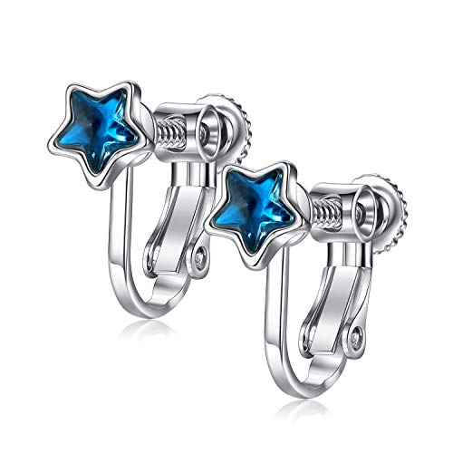 - EVBEA Clip on Earrings Studs Hypoallergenic Blue Cubic Zirconia Screw on Earrings for Women Star Girl Jewelry with Gift Box