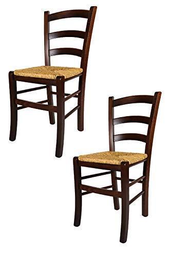 Tommychairs Set 2 sedie classice Venezia 38 per Cucina, Bar e Sala da Pranzo, con Robusta Struttura in Legno di faggio Levigato Color Noce e con