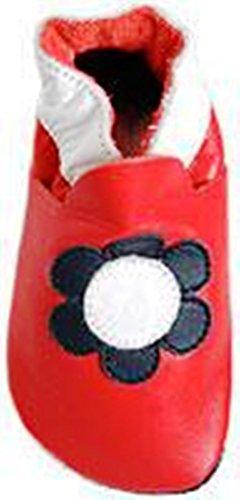 Pitter Patter Krabbelschuhe Babyschuhe rot Blume dunkelblau weiß in Gr. L = 21/22 f. 12 - 18 Monate 14 cm