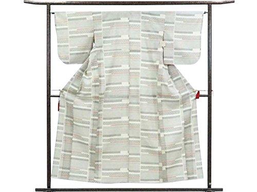 ダーベビルのテスと組む未来リサイクル紬 / 正絹白地単衣紬着物 / レディース【裄Lサイズ】(中古紬着物 中古つむぎ リサイクル着物)【ランクC】