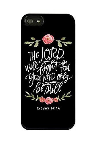 iPhone 6 Plus Case,iPhone 6s Plus Case,Flowers Floral Girls Women Cute Motivational Inspirational Exodus 14:14 Lord Will Fight for You Bible Verse Quotes Black Soft Case for iPhone 6s Plus (Iphone Girly Quotes Plus Case 6)