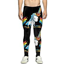 JPYL Men's Compression Pants Chainsaw Rainbow Unicorn 3D Print Baselayer Cool Dry Sports Thermal Tights Leggings Running Fitness