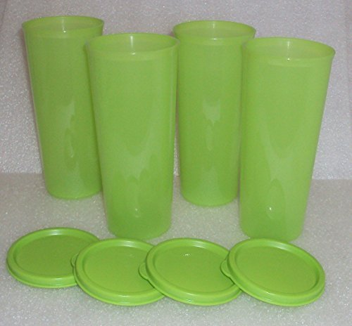 (Tupperware Tumblers 16 Ounce Set of 4 w/ Seals Green)