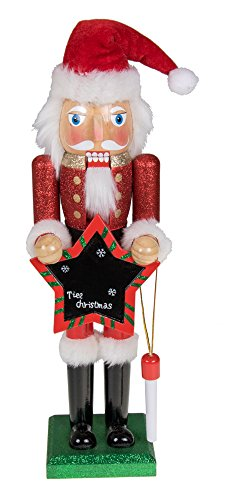 Clever Creations Traditional Christmas Wooden Santa Claus Blackboard Nutcracker Red and White Outfit Deisgn with Chalk and Black Chalkboard | 15