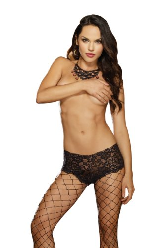 Dreamgirl Women's Diamond Net Pantyhose with Lace Boy Short Top, Black, One Size