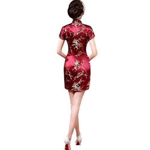 cortas Brocado Hzjundasi de Impreso Qipao Tradicional Cheongsam Mangas noche 16 Chino Retro Vestido Mujer Floral WwfFq04