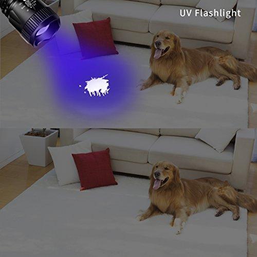 Morpilot 1Pcs UV Flashlight 1Pcs Tactical Flashlight, 2Pcs Mini Handheld Flashlight Set, Pet Dog Urine Detector Ultra Violet Flashlight, 5 Light Modes 400LM Flashlight with Strobe SOS