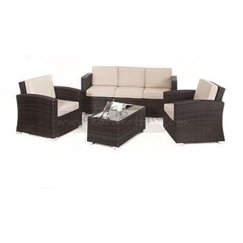 Laberinto ratán Kingston 3 sofá juego de muebles de jardín: Amazon ...