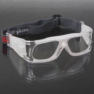 Zhongcheng Wrap Goggles Sports Glasses Eyewear for Basketball/Soccer Game (White)