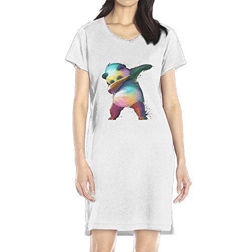 Hoeless Dabbing Panda Women's Short Sleeve Casual T-Shirt Dress (Baseball Costume For Women Diy)