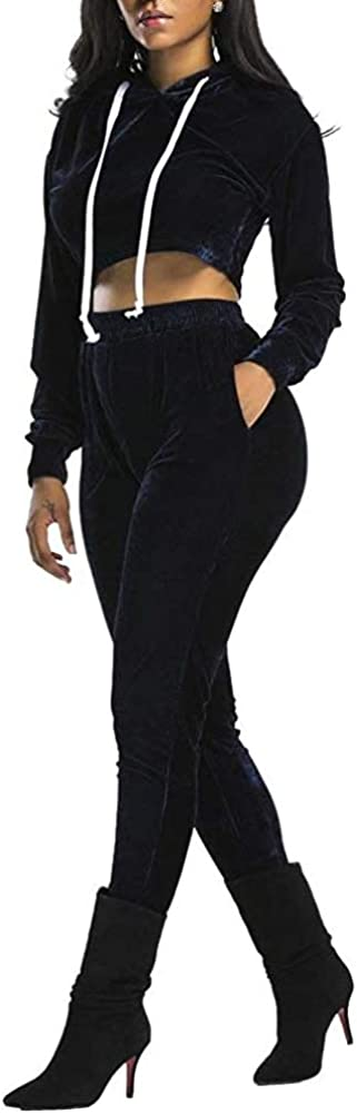 Yesgirl Donna Tuta 2 Pezzi Completi Sportivi da Donna Manica Lunga Tuta da Ginnastica Felpa con Cappuccio con Zip Coulisse Giacca Set di Abbigliamento Sportiva Jogging Lungo Pantaloni