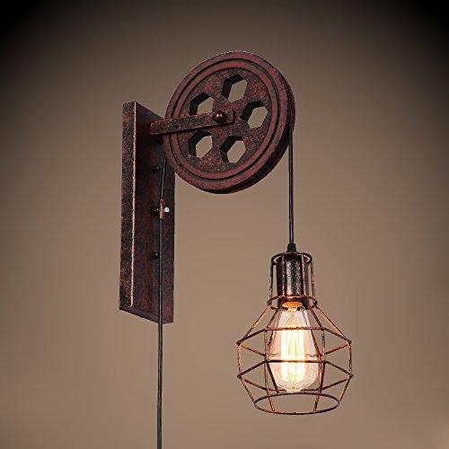 Standard Wood Sconce (SUNWE Industrial Retro Iron Wall Lamp Creative Personality Lift Pulley Wall Lamp (MK-III))