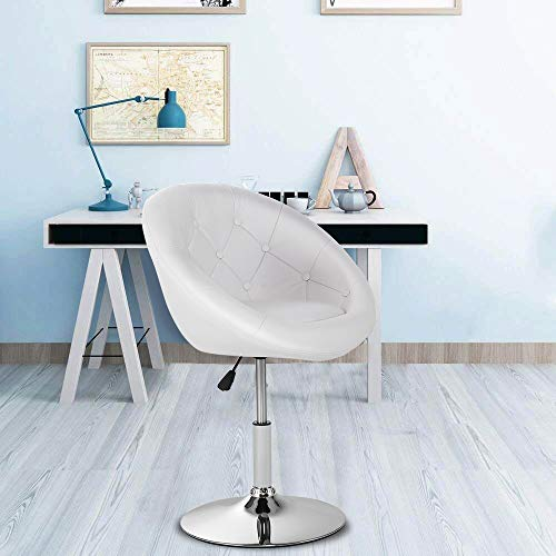 (WATERJOY Swivel Bar Chair, Round Tufted Back Swivel Chair, Chrome Adjustable Leather Bar Accent Stool Chair with Hydraulic Lift, White)