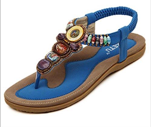 Scarpe YCMDM delle donne di modo 2017 nuovo rilievo femmina sandali della Boemia della spiaggia scarpe piane , blue , 38