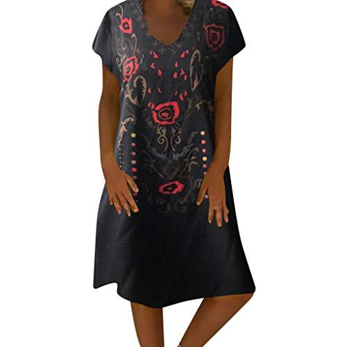 Women Tunic Shift Short Dress ❤❤Boho Summer Crew Neck Short Sleeve Floral Printed Short Beach Dresses (XX-Large, Black) ()