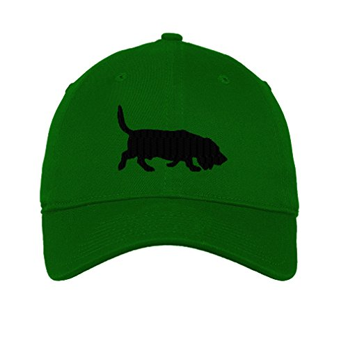 Basset Hound Dog Silhouette Twill Cotton 6 Panel Low Profile Hat Kelly Green