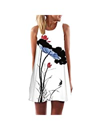 Winhurn Vintage Ink Style Women Summer Sleeveless Lovely Beach Short Dress