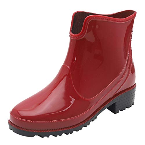 Goddessvan Punk Style Ankle Short Rain Boots Women Non-Slip Rain Boots Outdoor Rubber Water Shoes Red