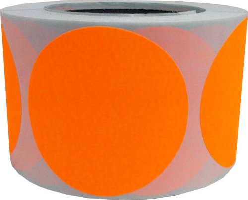 Fluorescent Orange Color Coding Labels Round Circle Dots 3 Inch 500 Total Adhesive Stickers