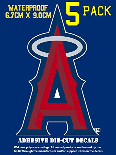 5 Pack Los Angeles Angels Vinyl Decal Sticker Set, 3.8 H x 2.7 W inch, Logo in LA Angel Red and Blue Team Colors. Anaheim Angel's Major League Emblem.