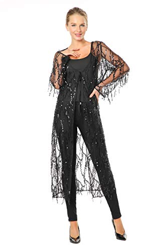 - Metme Sequins Cardigan Cloak See-Through Open Front Shawls Sparkly Club Cardigan for Evening Prom