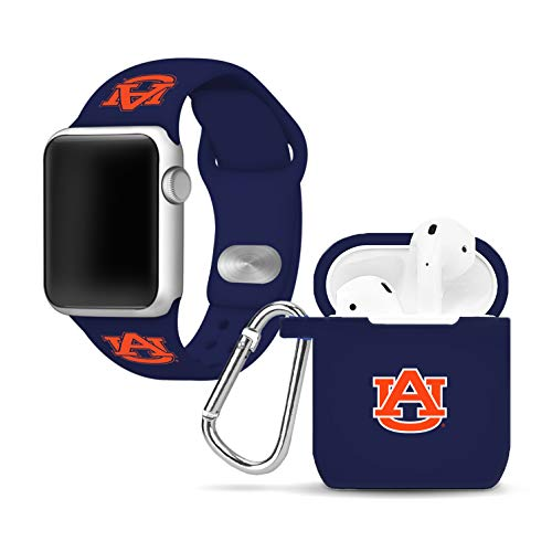 (Affinity Bands Auburn Tigers Silicone Watch Band and Case Cover Combo Compatible with Apple Watch and AirPod)