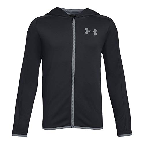 - Under Armour Boys Armour Fleece Full Zip, Black (001)/Steel, Youth Large