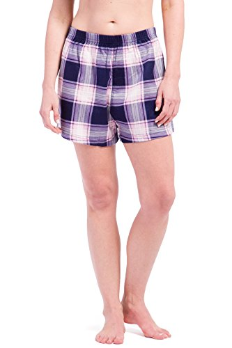 (Fishers Finery Women's EcoFlannel Plaid Lounge Winter Boxer; Flannel (NVY/PNK, S))