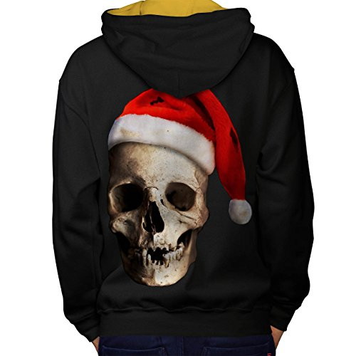 Mistle Toe Hat (Skull Hat Santa Christmas Men M Contrast Hoodie Back | Wellcoda)