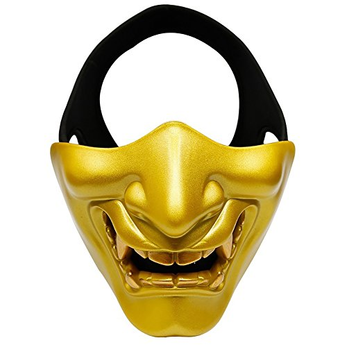 856store - Realistic Halloween suppliesWomen Men Halloween Devil Masquerade Party Cosplay Scary Tactical Film Mask - Yellow -