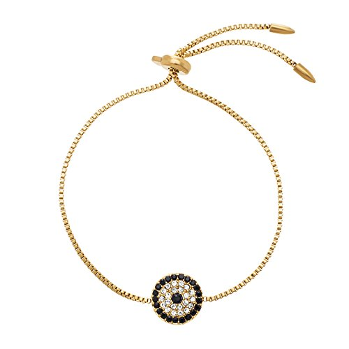 [Gold Tone Stainless Steel Cubic Zirconia Evil Eye Adjustable Slider Bracelet] (Arm Candy Costume)