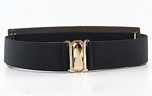 FIONTO Elastic Mirror Golden Metal Waist Belt Metallic Bling Plate Wide Band Belts For Women Ladies Accessories tactical F2050