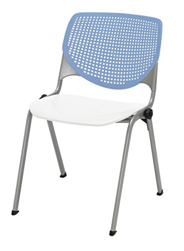 KFI Seating 2300-BP20-SP08 Kool Poly Stack Chair with Perforated Back Peri Blue White Seat, Peril Blue Back, White Seat