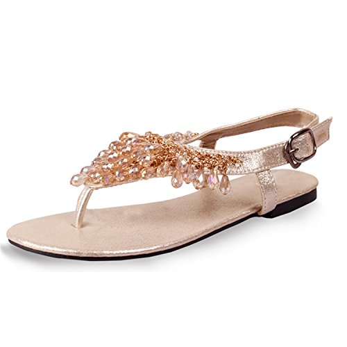 Gold Combo Footwear - sdk5SIUADT Fashion Women Summer Sandals Shoes Woman Hot Flats Women's Sandals Size Plus 35-41 XWZ3721 gold 9