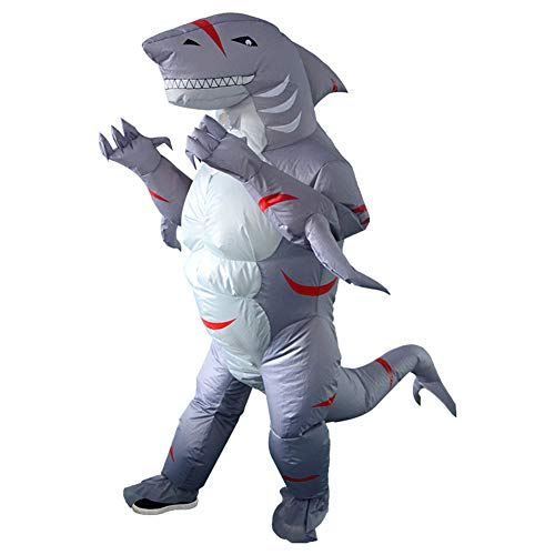 Cabina Home Inflatable Costumes Adult Funny Halloween Cosplay Costumes Blow Up Suit Fancy Dress for Men Women Party, Shark Monster]()