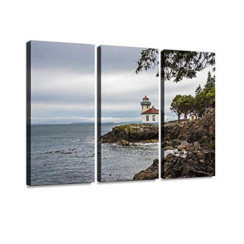 7houarts Lime Kiln Lighthouse Canvas Wall Artwork Poster Modern Home Wall Unique Pattern Wall Decoration Stretched and Framed - 3 Piece