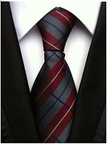 Allbebe Men's Striped Red Grey Jacquard Woven Silk Tie Microfiber Formal Necktie