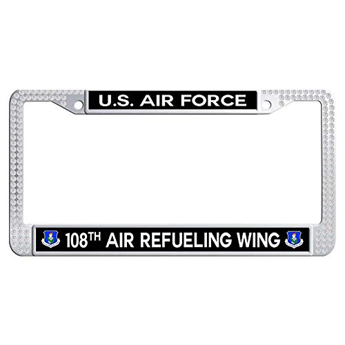 - Hensteelna US Air Force 108th Air Refueling Wing Shining Diamond Car License Plate Holder U.S. Air Force Bling Rhinestones License Plate Frame(White,1 pic, 6' x 12' in)