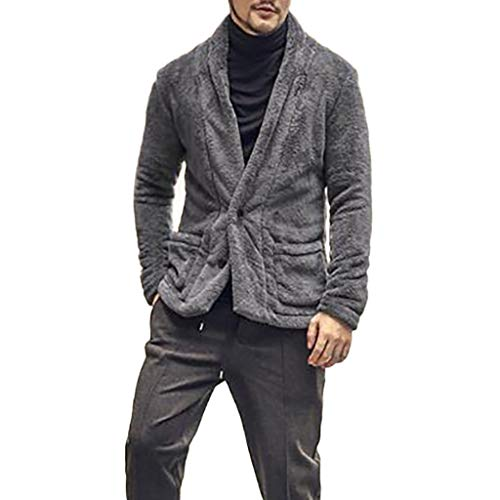 Jerseys Badger Baseball Solid (YOcheerful Mens Cardigan, Solid Cardigan for Men Spring Fleece Coat Jacket Business Workwear Outerwear Trench Coat (Gray,2XL))