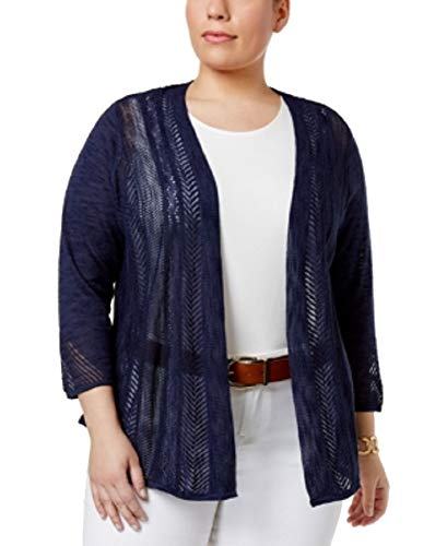 - Charter Club Plus Size Pointelle-Knit Cardigan (Intrepid Blue, 1X)