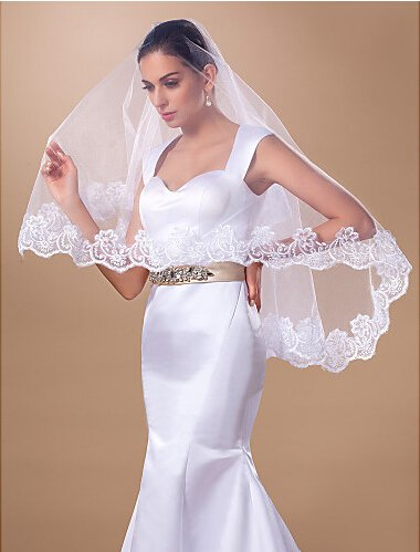Aukmla 1 Tier Waist Length Wedding Veil, Bridal Accessories with Lace Edge ()