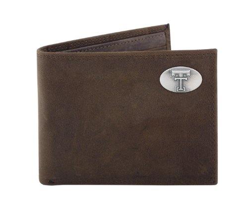 NCAA Texas Tech Red Raiders Zep-Pro Crazyhorse Leather Bifold Concho Wallet, Light Brown