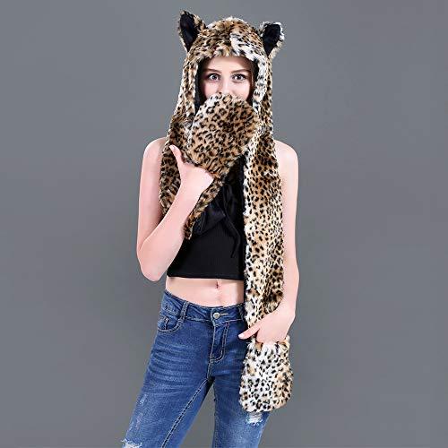 bufanda Beanie Leopardenprint 1 y Set Mujer Aivtalk guantes SwZxnEO