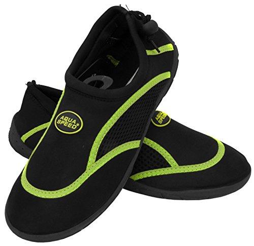 Aqua Speed Set - Aqua-Schuhe + Mikrofaserhandtuch | Damen | Herren | Kinder | Jugendliche | Poolschuhe | Badeschuhe | Neopren MODELL 3B - Schwarz / Grün