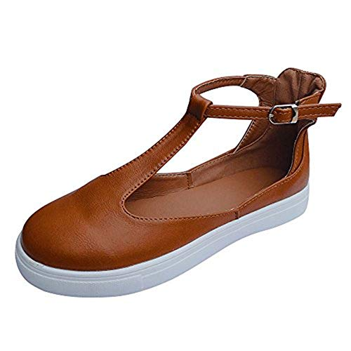 (Xinantime Women Flats Single Shoes Casual Sandals Slip on Loafers Vintage Platform Flat Heel T Strap Buckle Leather Shoes Brown)