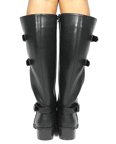 TOETOS Women's Fashion Knee High Riding Boots Black-mirran